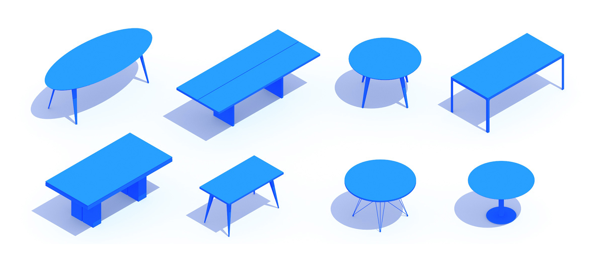 3D perspective of a collection of Dining Tables showing many different sizes, styles, and designs