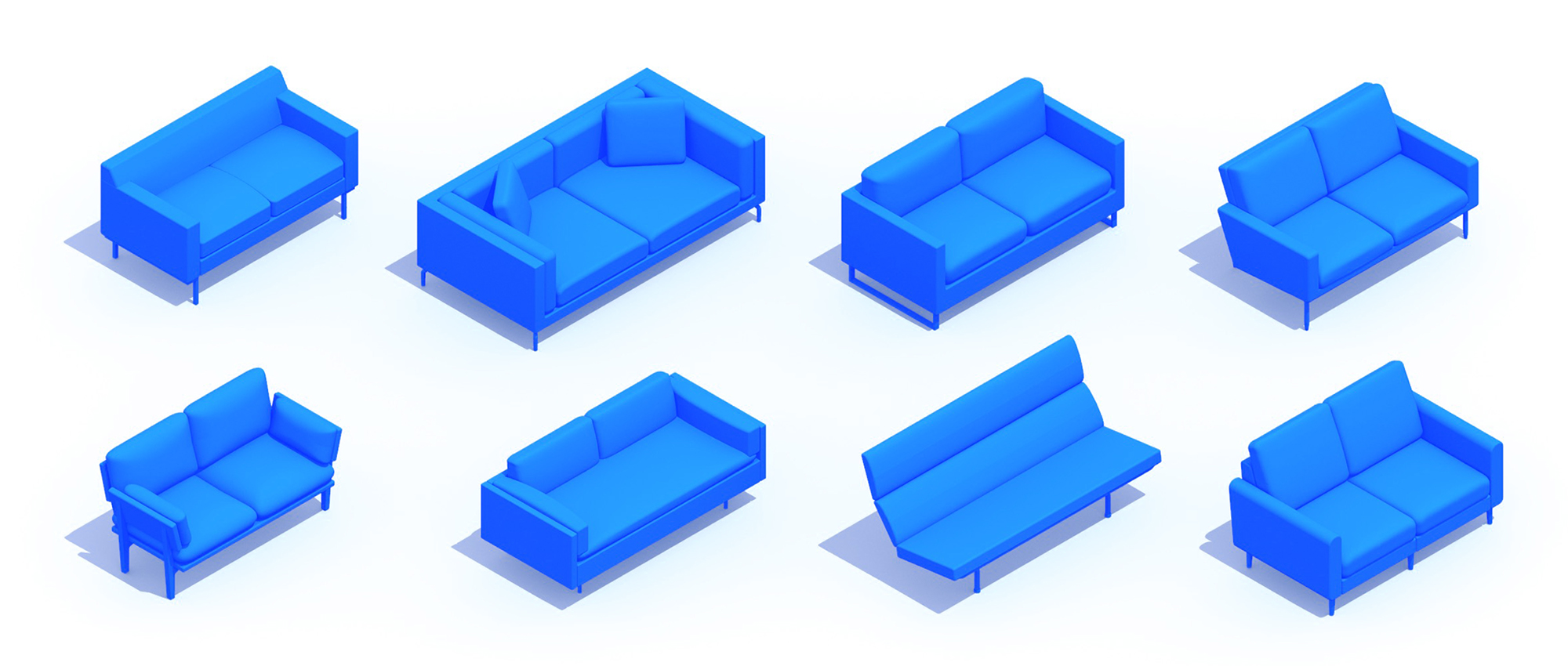 Assorted group of scaled 3D Loveseats representing a range of sizes, styles, functions and designs