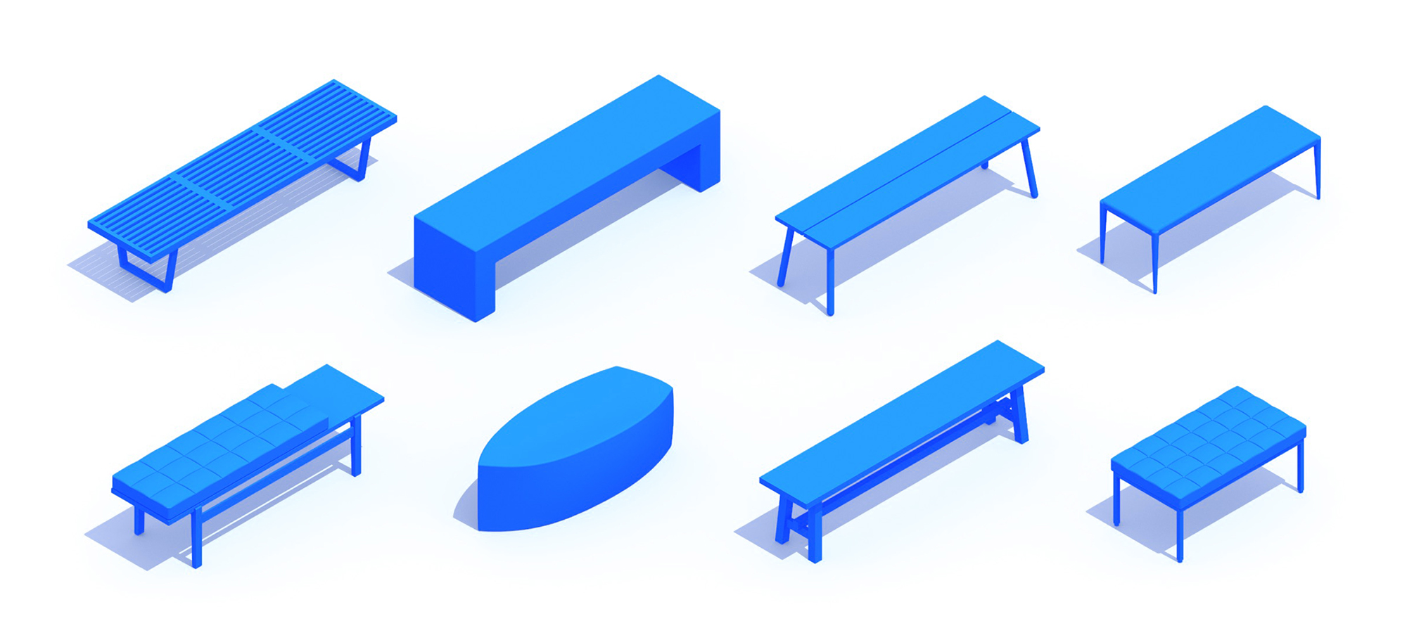 Assorted group of scaled 3D Benches representing a range of sizes, styles, functions and designs