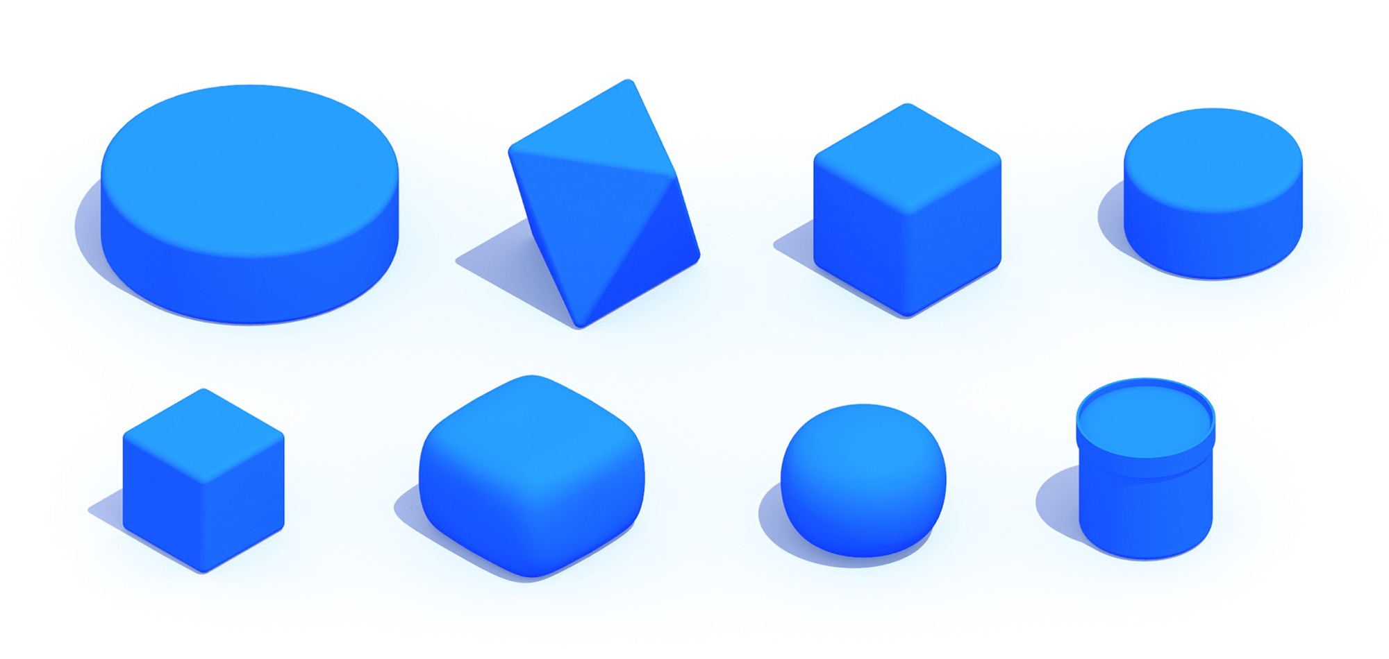 3D perspective of a collection of Poufs showing many different sizes, styles, and designs
