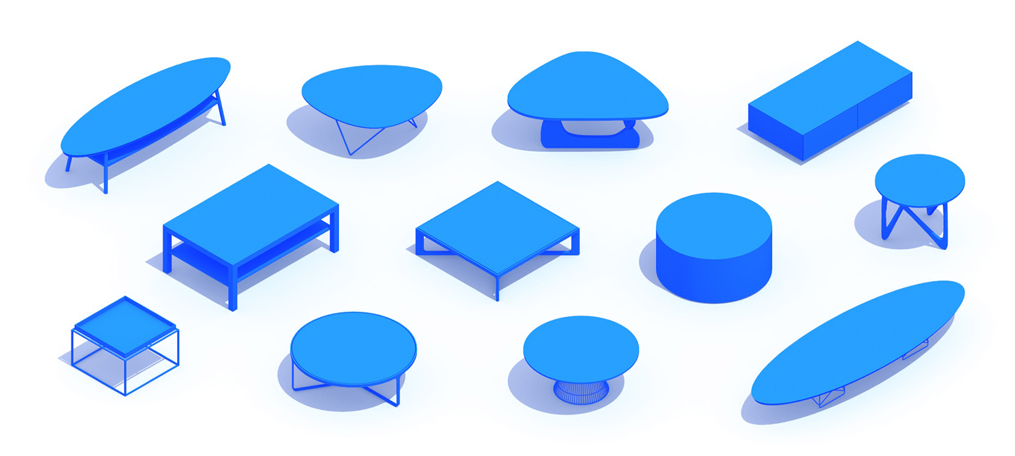 3D perspective of a collection of Coffee Tables (Accent Tables) showing many different sizes, styles, and designs