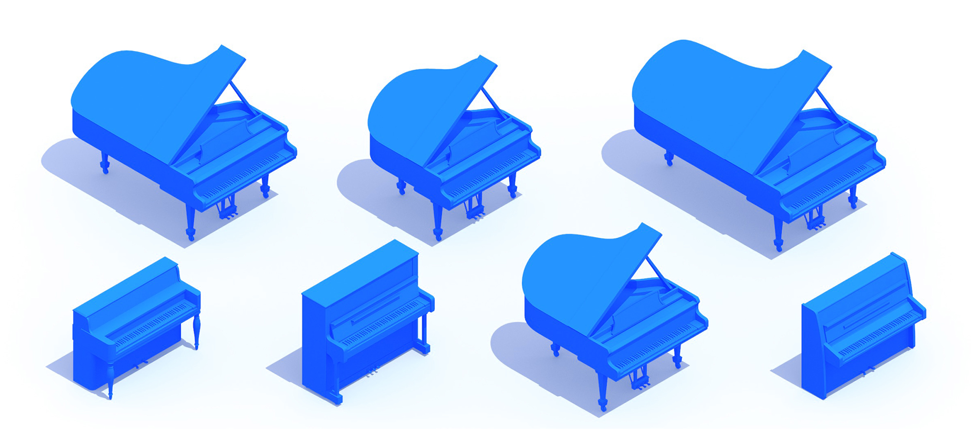 3D perspective of a collection of Pianos showing many different sizes, styles, and designs