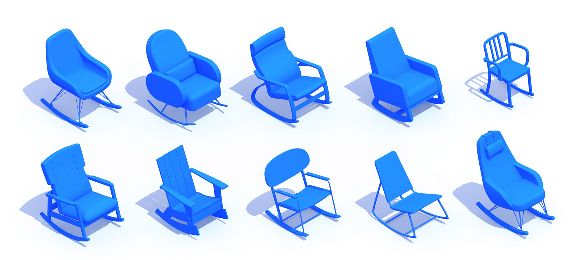 Collection of 3D Rocking Chairs showing a diversity of sizes, styles, and types
