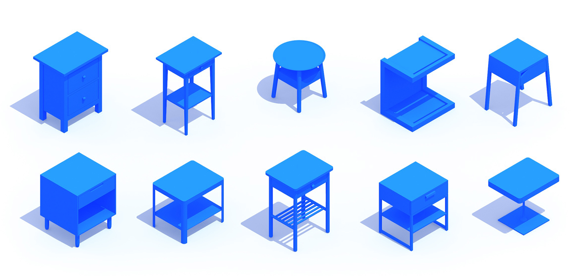 3D perspective of a collection of Nightstands (Bedside Tables) showing many different sizes, styles, and designs