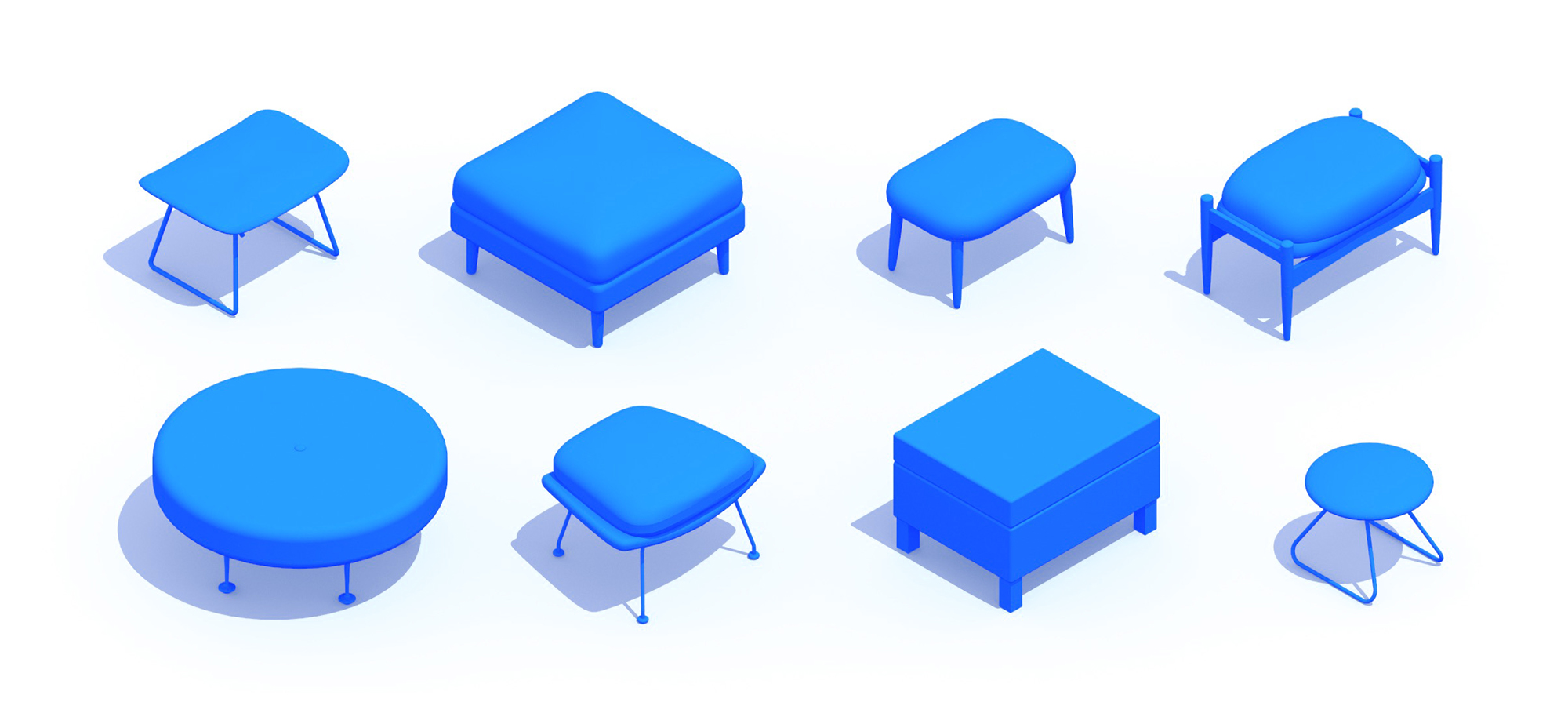 3D perspective of a collection of Ottomans and Footstools showing many different sizes, styles, and designs