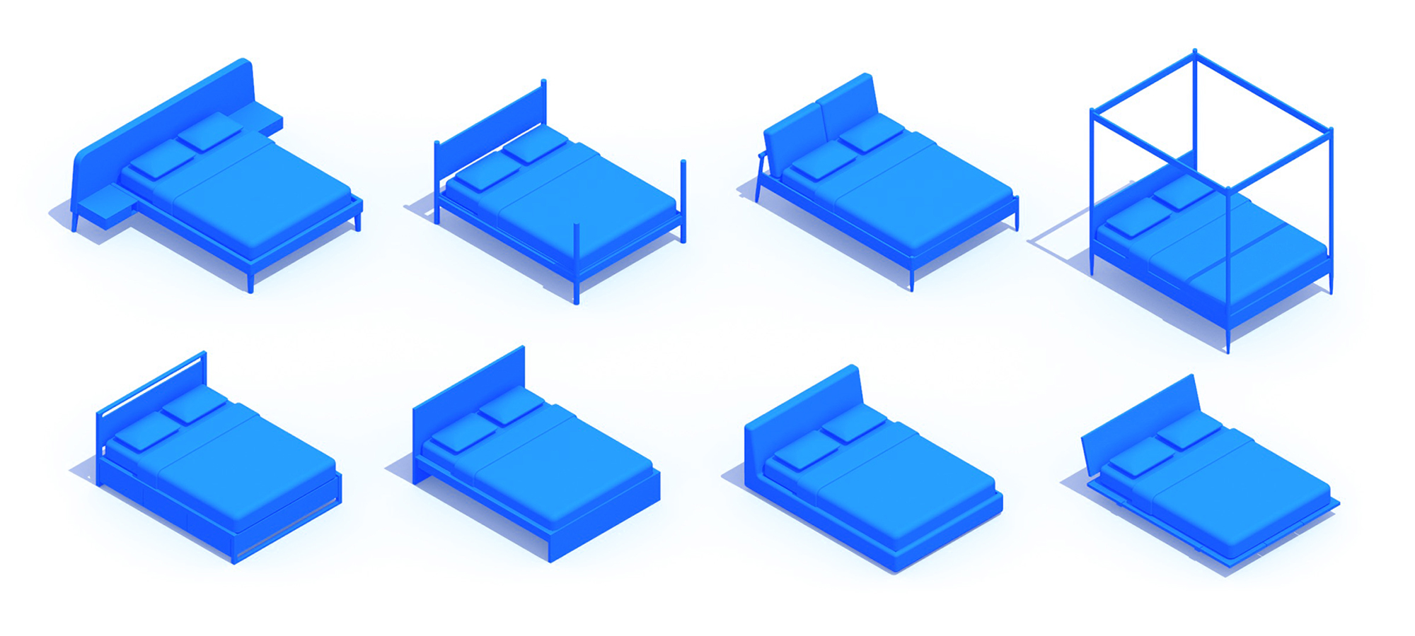 Collection of 3D Bed Frames showing a diversity of sizes, styles, and types