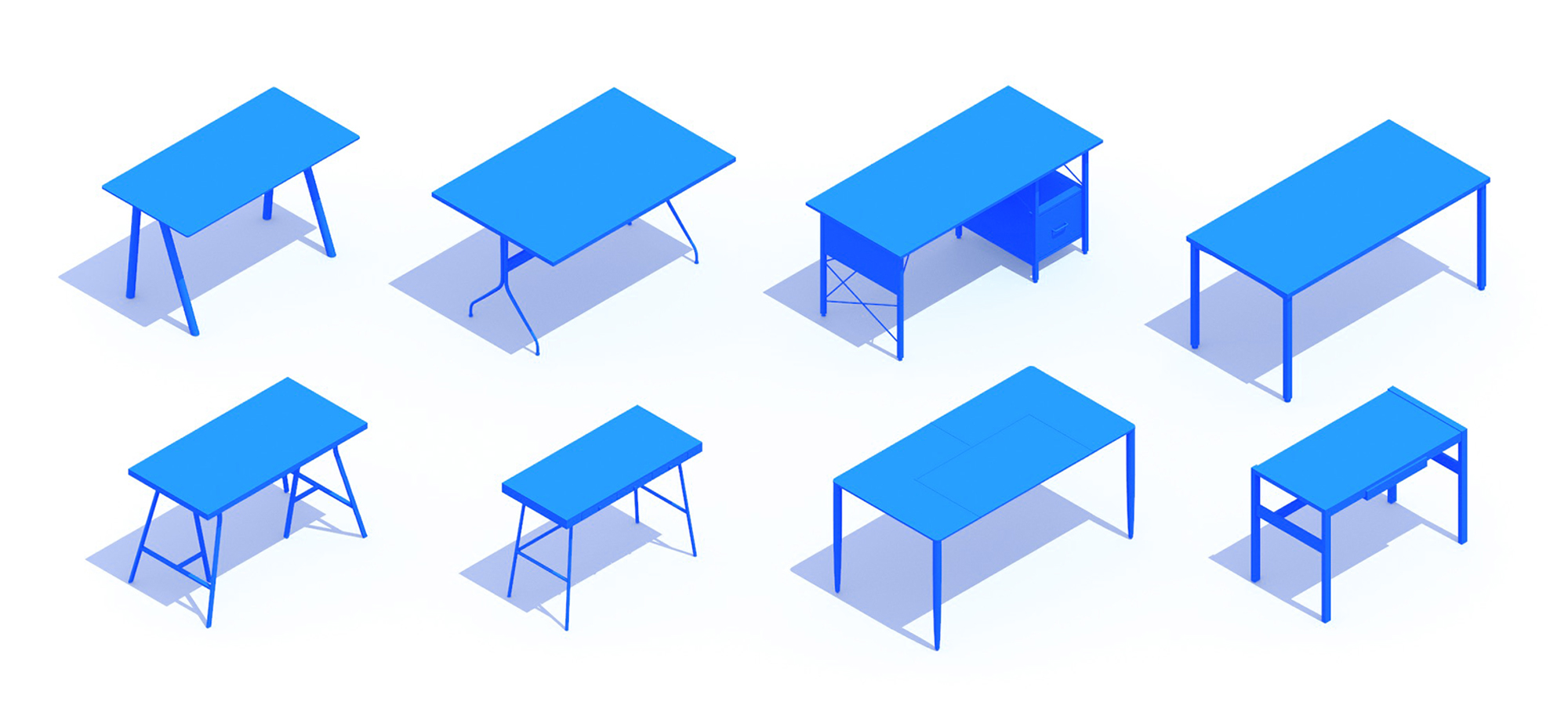 Collection of 3D Desks and Work Tables showing a diversity of sizes, styles, and types