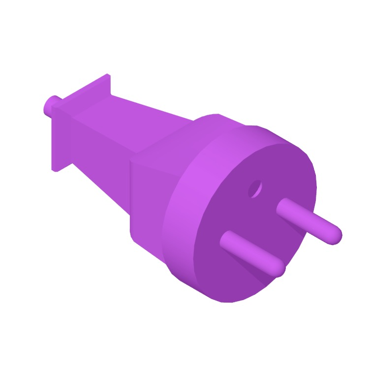 View of the Type E Plug & Socket in 3D available for download