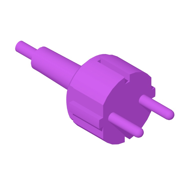 Perspective view of a 3D model of the Type F Plug & Socket