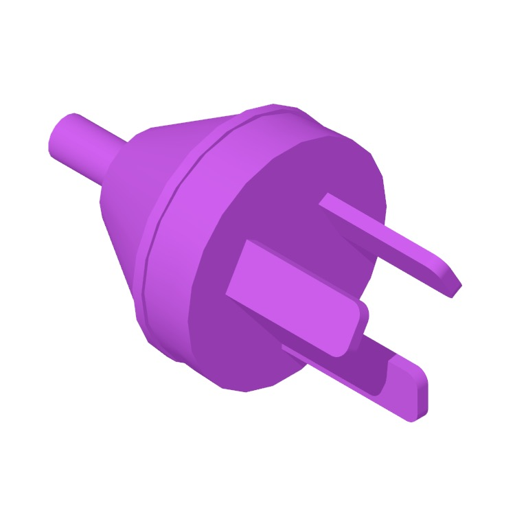 Perspective view of a 3D model of the Type I Plug & Socket