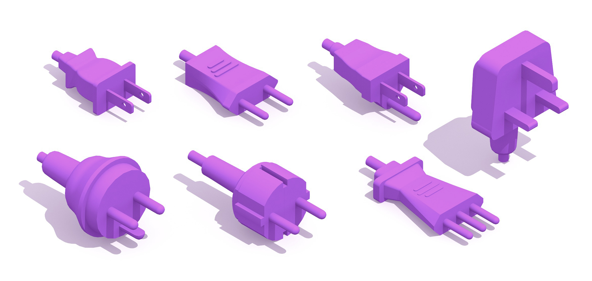 Collection of different Electrical Plugs and Sockets showing their unique pin configurations, sizes and functions in 3D