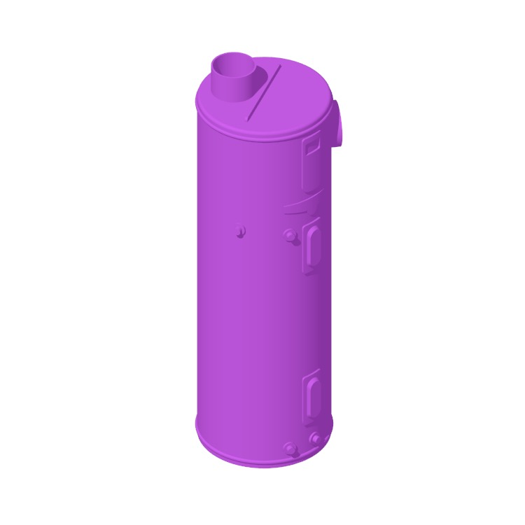 Perspective view of a 3D model of the Rheem Professional Prestige Hybrid Water Heater (80 Gallon)