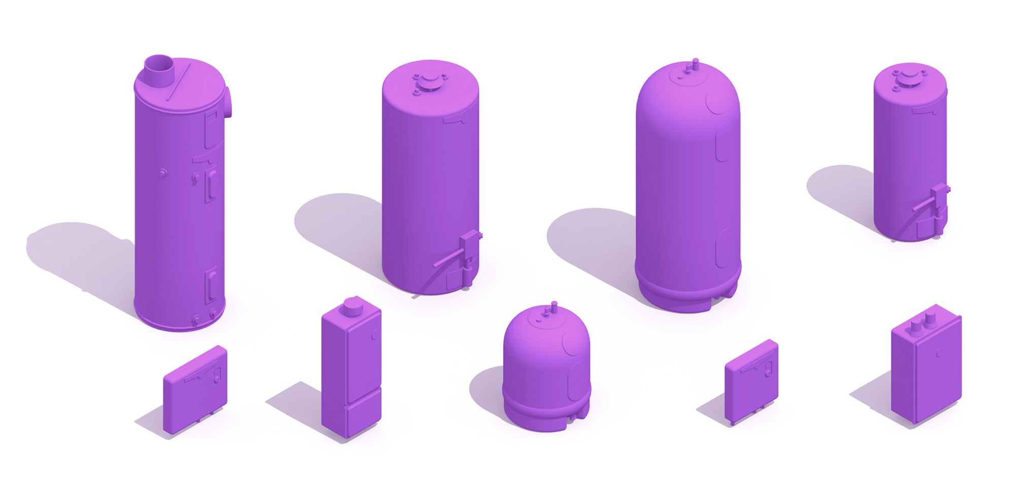Collection of assorted Hot Water Heaters showing a range of styles, designs, sizes, capacities and types in 3D