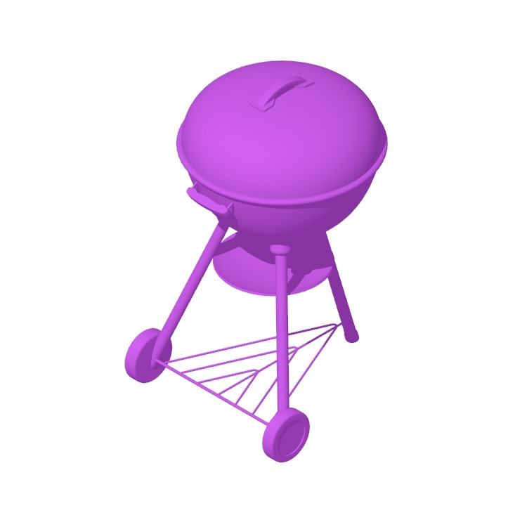 Perspective view of a 3D model of the Weber Original Kettle Charcoal Grill 22""