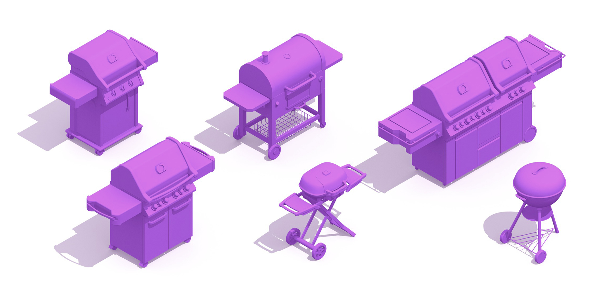 Collection of BBQ Grills of various sizes, styles, fuel types, and designs viewed in 3D