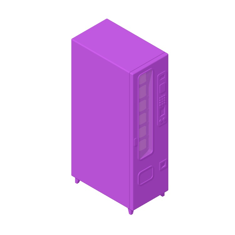 View of the Small Snack Vending Machine in 3D available for download