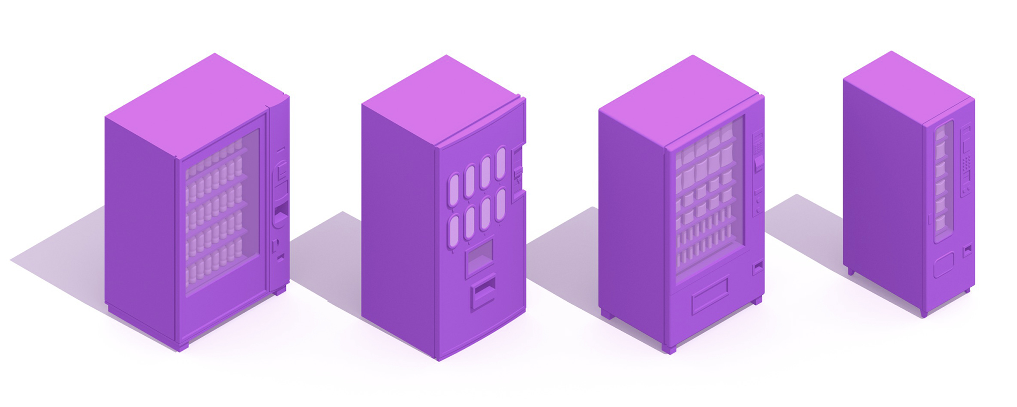 3D perspectives of a variety of Vending Machines showing an assortment of sizes, functions, styles, and designs