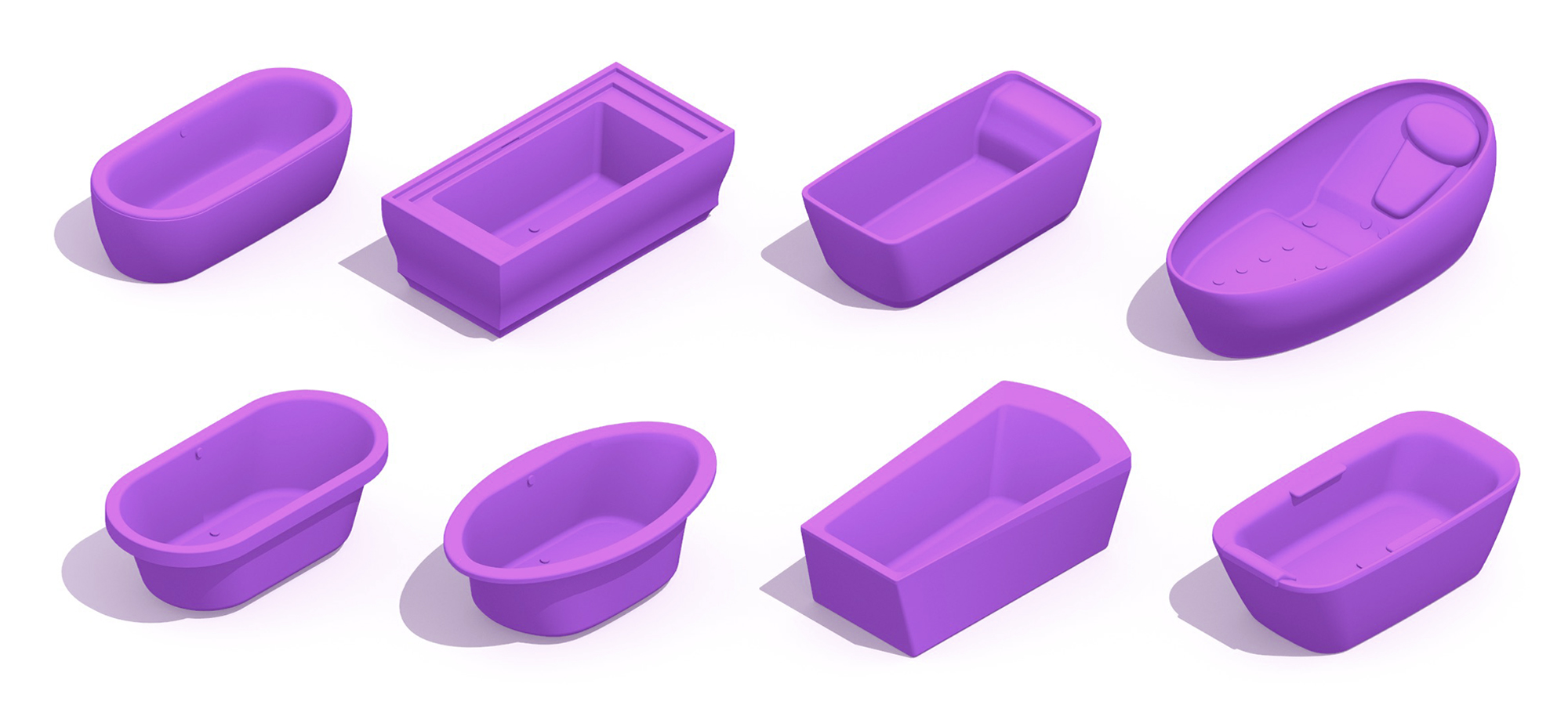 Collection of 3D Bathtubs (Baths) showing a variety of bathtub styles, sizes, types and designs