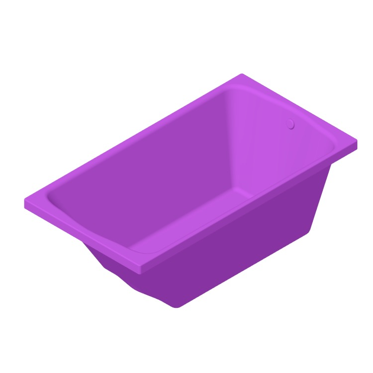Perspective view of a 3D model of the TOTO Clayton Tile-in Soaker