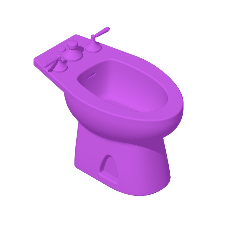 3D model of the TOTO Piedmont Bidet viewed in perspective