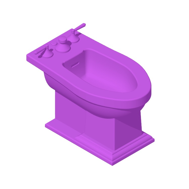 3D model of the TOTO Clayton Bidet viewed in perspective