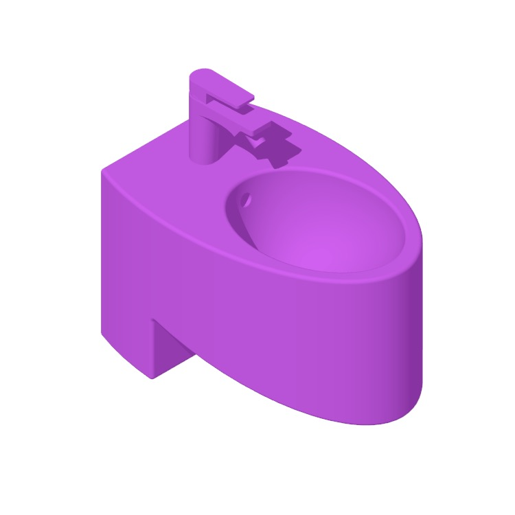 Perspective view of a 3D model of the Nameek's Zefiro Round Wall Hung Bidet