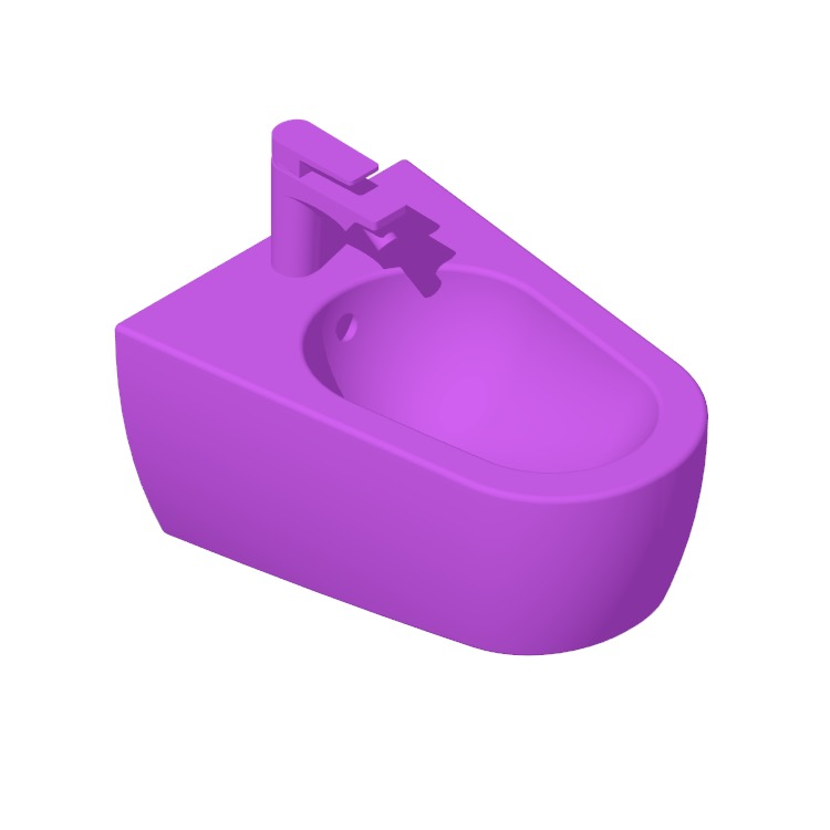 3D model of the Nameek's Tizi Round Wall Hung Bidet viewed in perspective