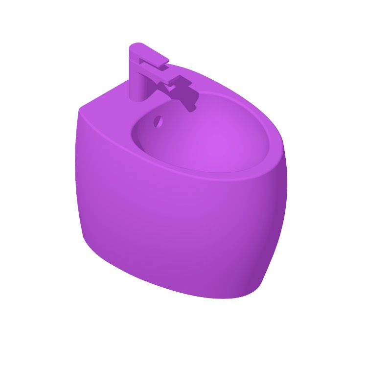 Perspective view of a 3D model of the Nameek's Moai Round Floor Standing Bidet