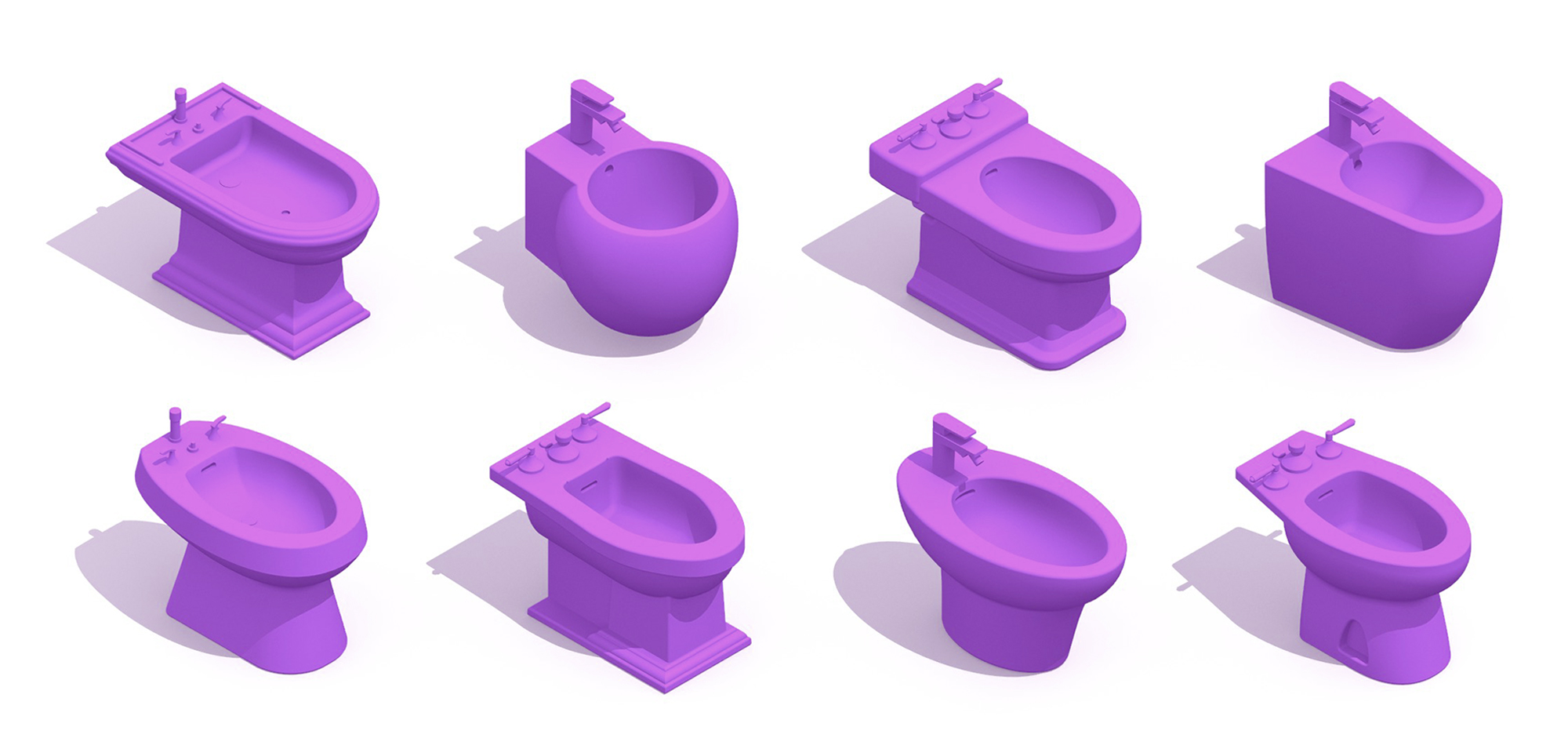Collection of 3D Bidets illustrating a variety of bidet designs, sizes, and styles for use in bathroom design