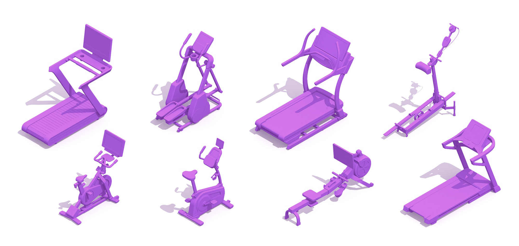 Collection of various pieces of Exercise Equipment viewed in 3D including treadmills, cycles, ellipticals and rowers