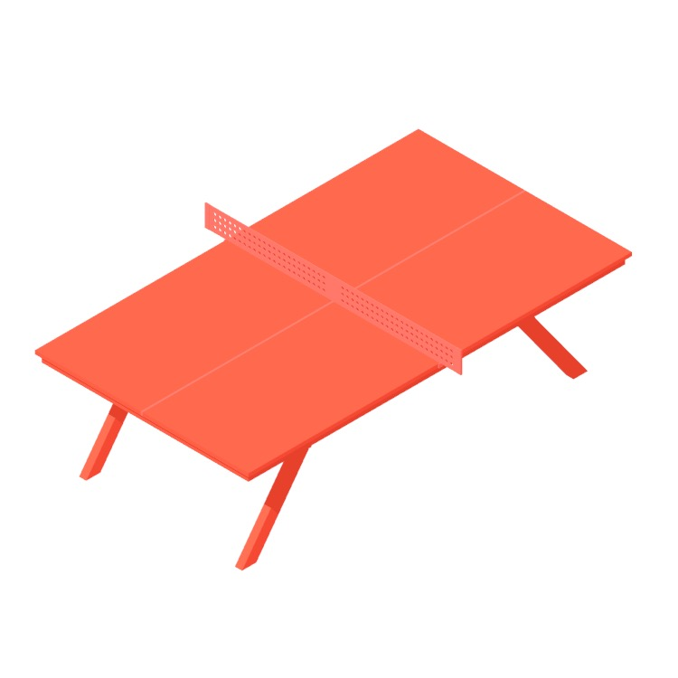 3D model of the Woolsey Ping Pong Table viewed in perspective