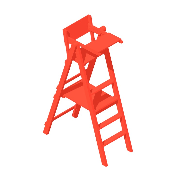 View of a Traditional Tennis Umpire Chair in 3D available for download