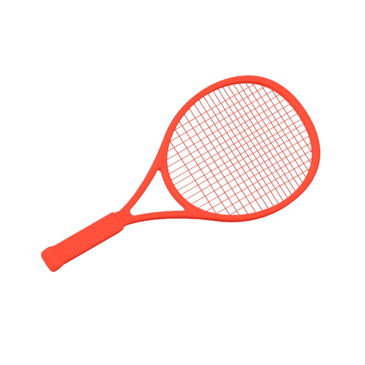 Perspective view of a 3D model of a Midplus Tennis Racket