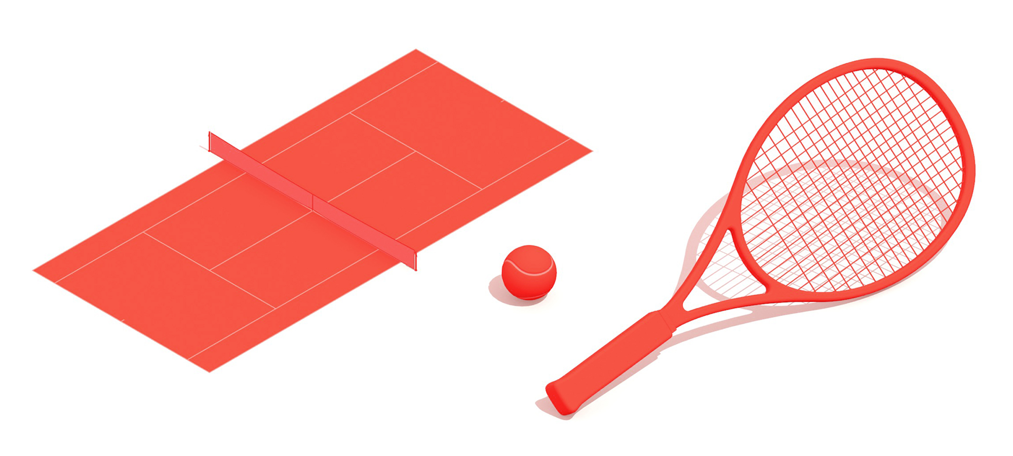 Group of 3D elements found in the game of Tennis including the tennis court, tennis ball, and tennis racket