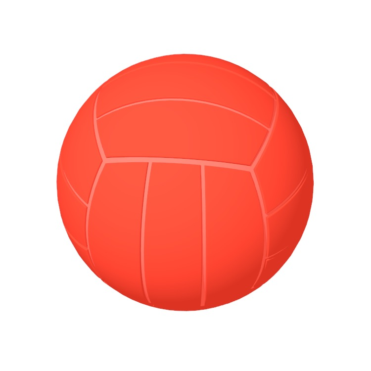 3D model of a Size 5 Water Polo Ball viewed in perspective