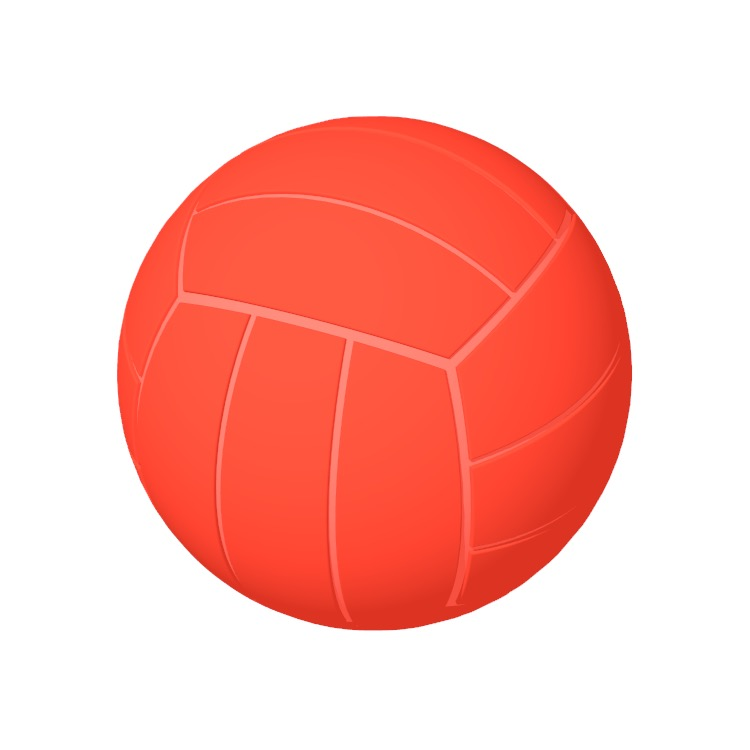 Perspective view of a 3D model of a Volleyball