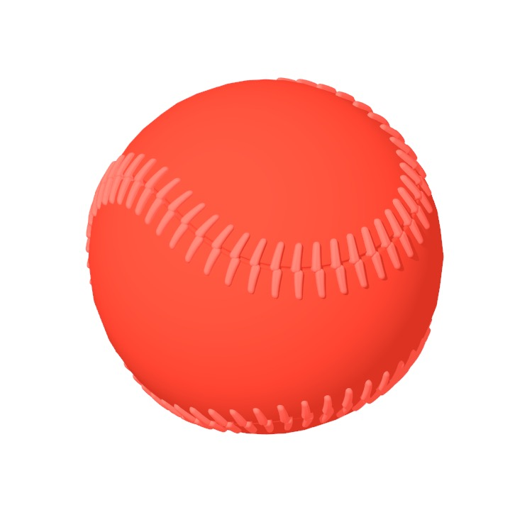 3D model of a Softball viewed in perspective