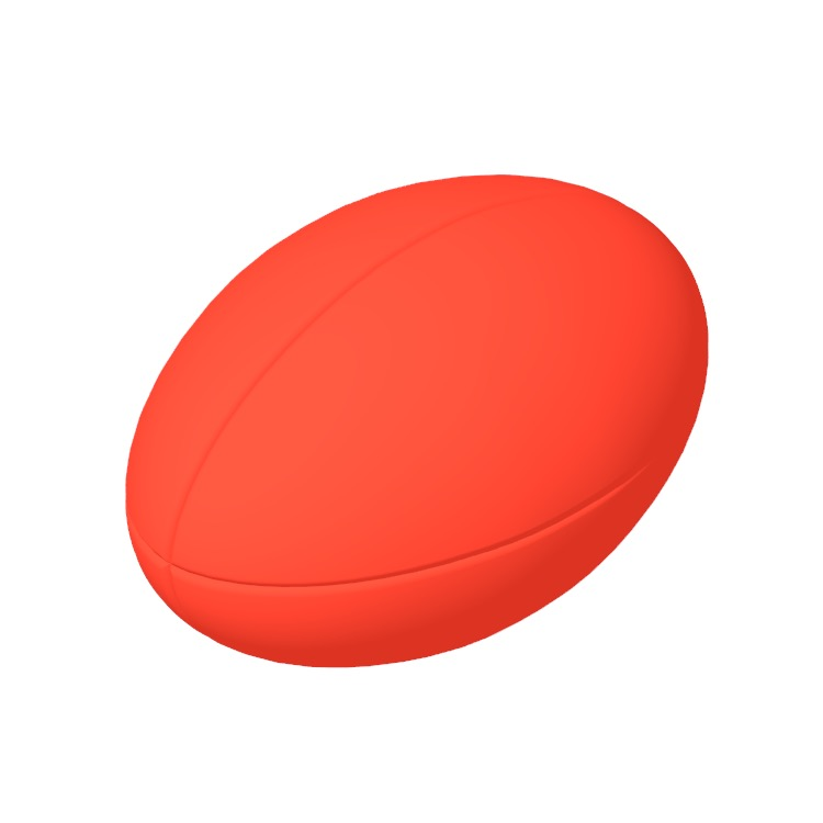 Perspective view of a 3D model of a Rugby Ball