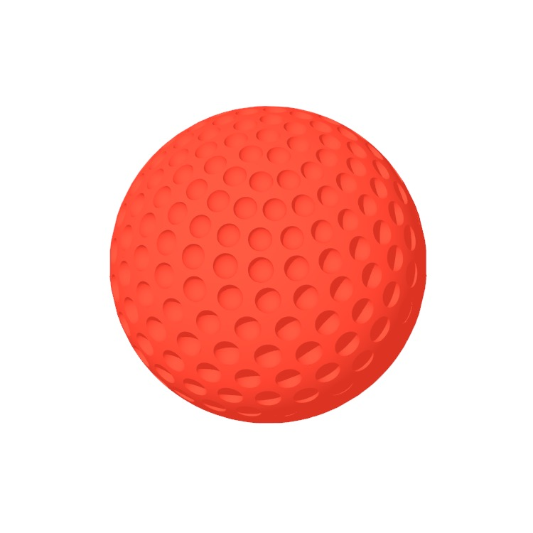 Perspective view of a 3D model of a Golf Ball
