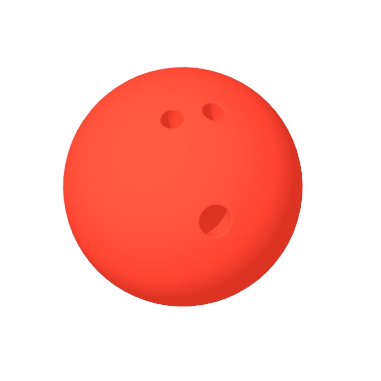 3D model of a Ten-Pin Bowling Ball viewed in perspective