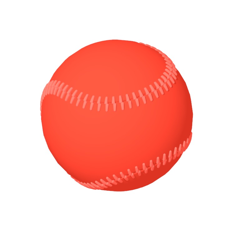 Perspective view of a 3D model of a Baseball