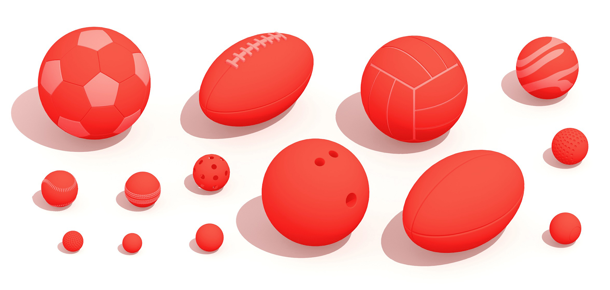 Scaled collection of various balls used in sports games viewed in 3D