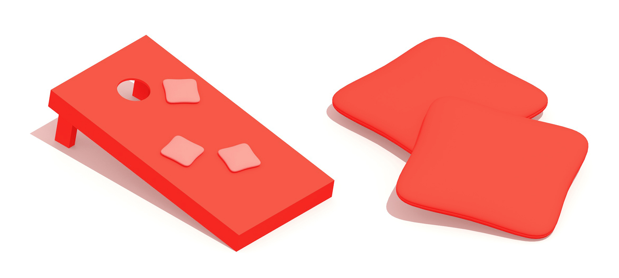 Collection of 3D Cornhole equipment including cornhole boards and cornhole bags