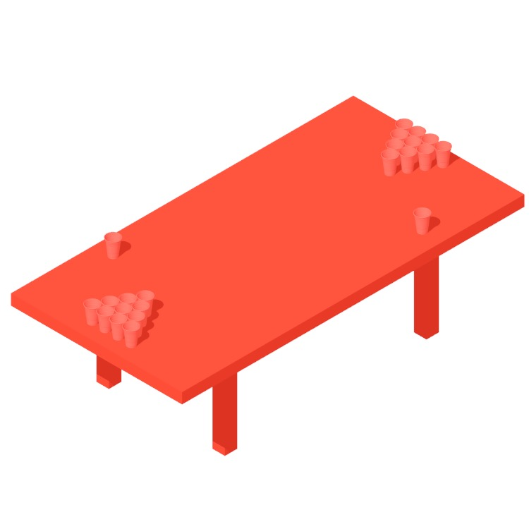 3D model of a Large Sized Beer Pong Table viewed in perspective