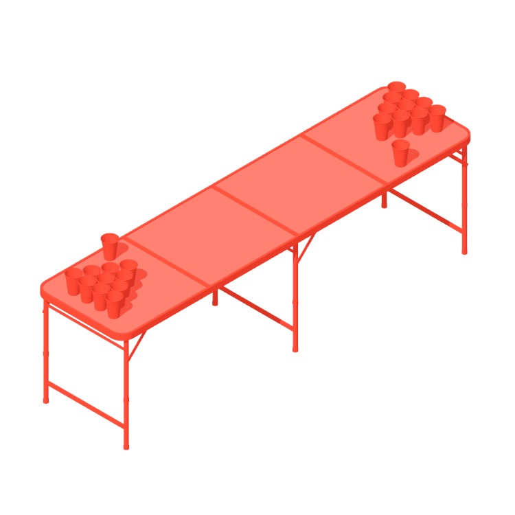 Perspective view of a 3D model of an Official Beer Pong Table