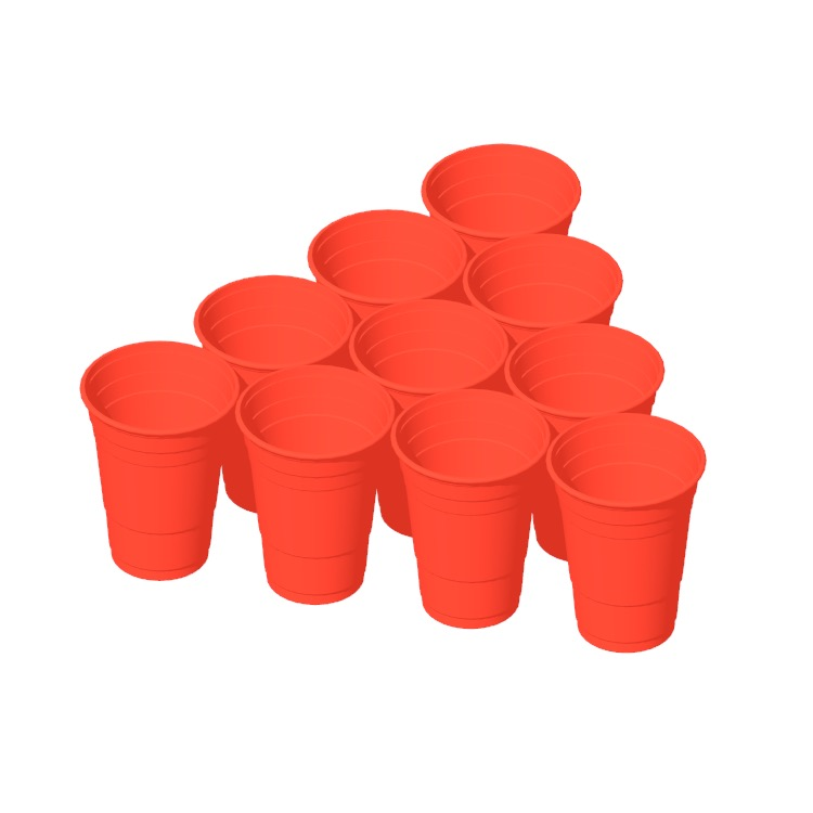 View of a typical 10 cup Beer Pong Rack in 3D available for download