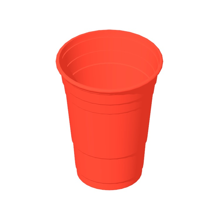 3D model of a Beer Pong 16oz Cup viewed in perspective