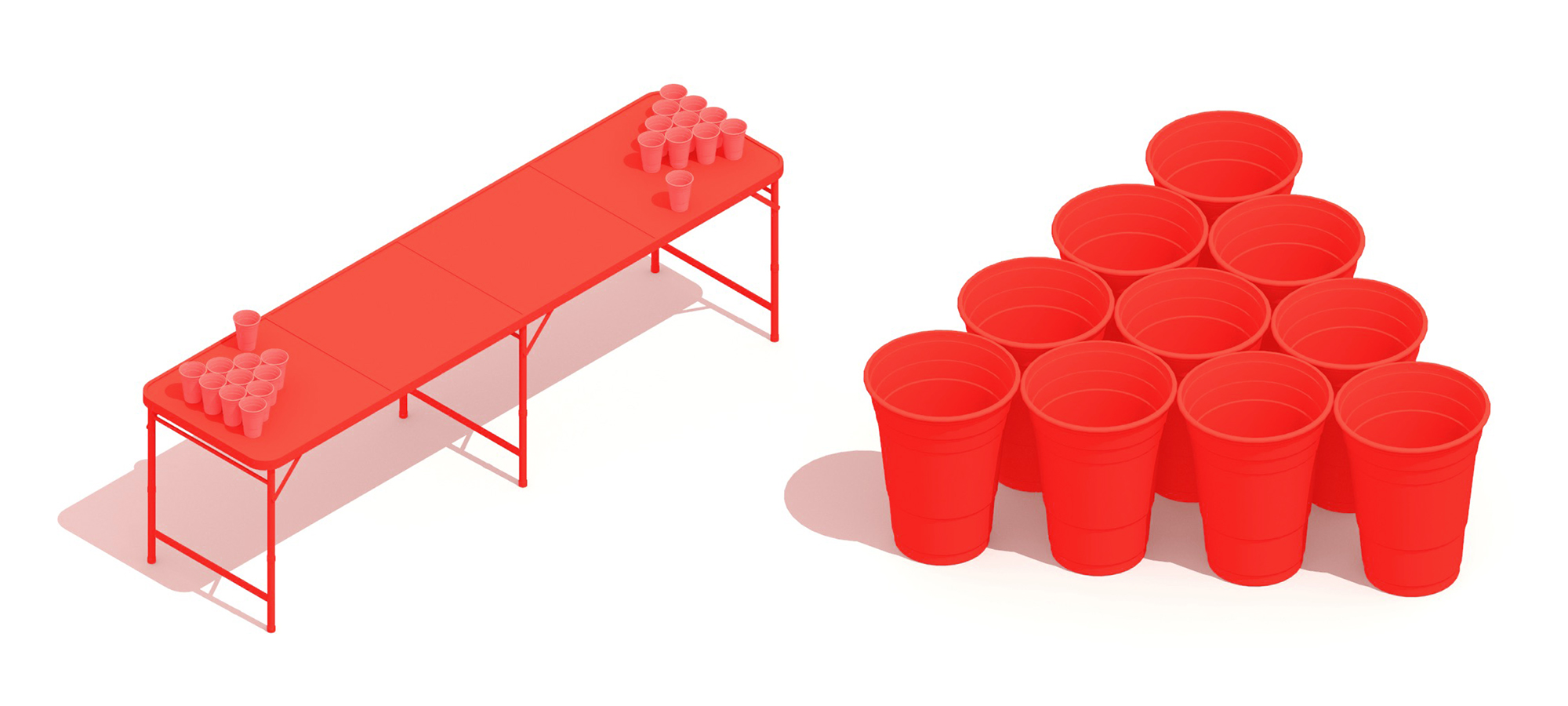 Pair of 3D perspectives of Beer Pong equipment including a Beer Pong Table and Beer Pong Cups
