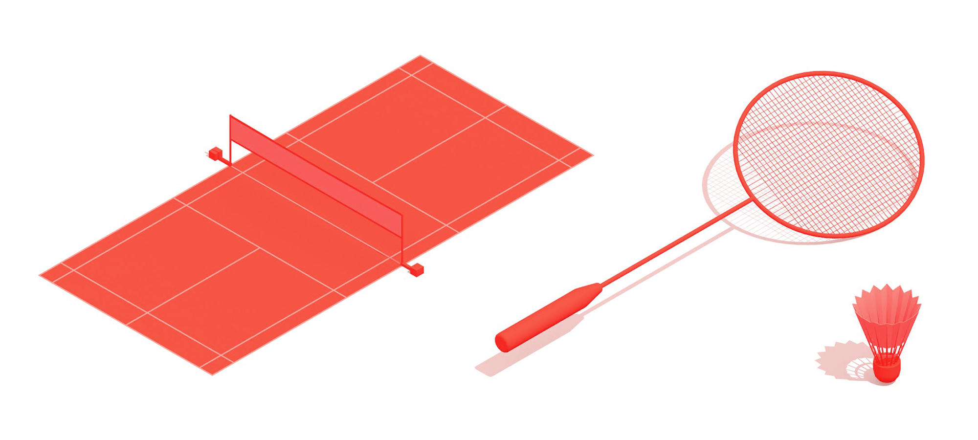 Collection of the components of Badminton in 3D including the badminton court, badminton racket, and badminton shuttlecock