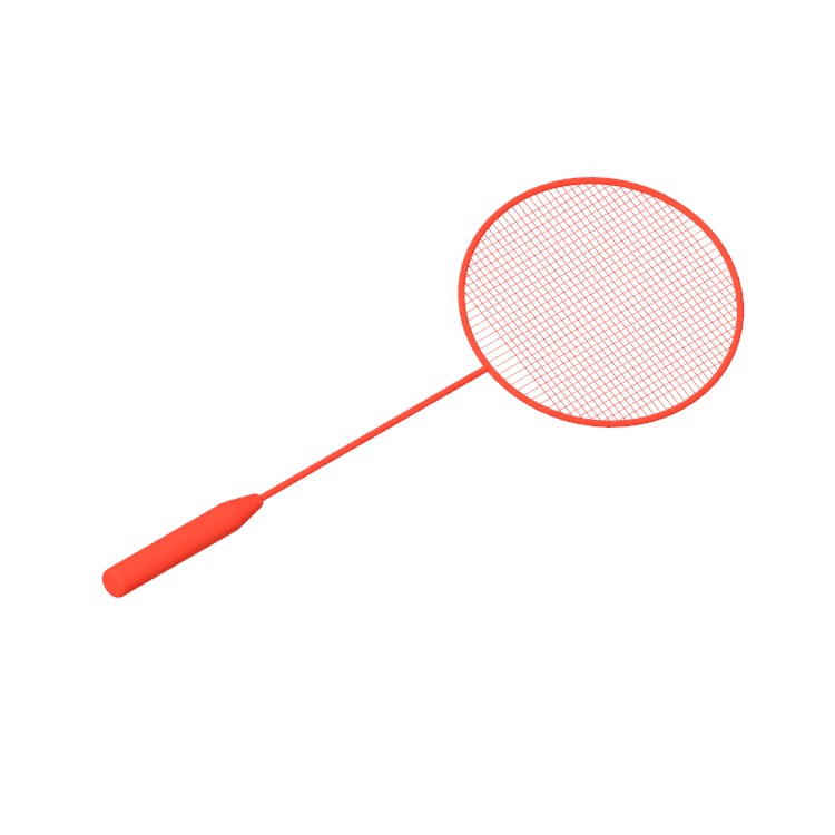 3D model of a Badminton Racket viewed in perspective